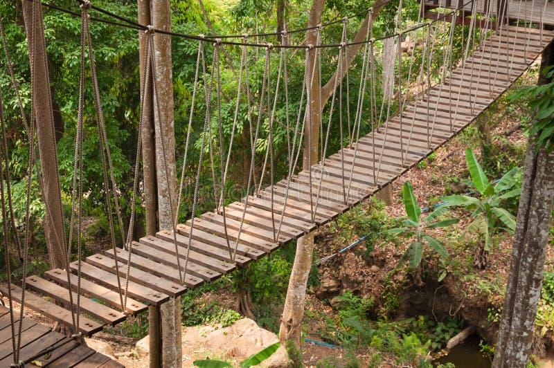 Hangbrug, gang aan avontuurlijk royalty-vrije stock fotografie