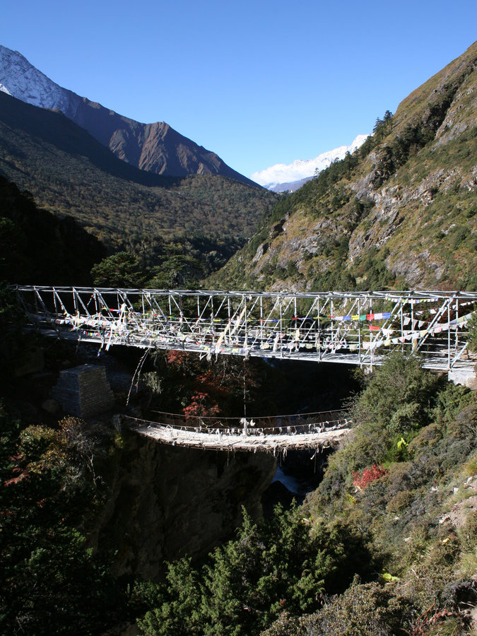 Hangbrug - Nepal royalty-vrije stock foto's