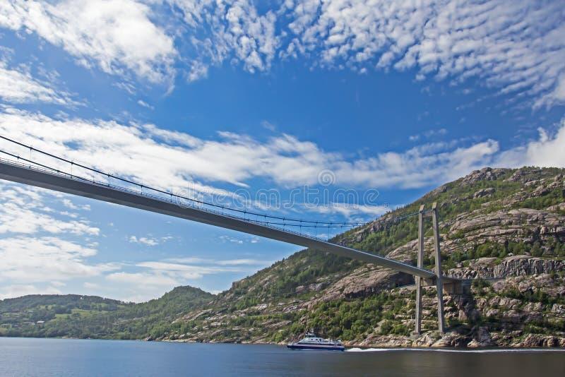 Hangbrug over fjord royalty-vrije stock foto