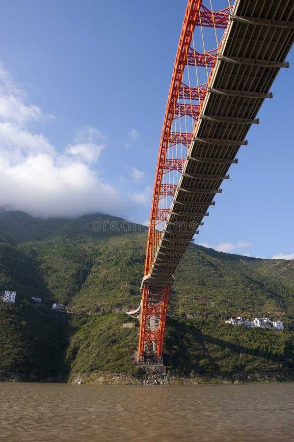 Hangbrug over Yangtze Rivier, China royalty-vrije stock afbeeldingen