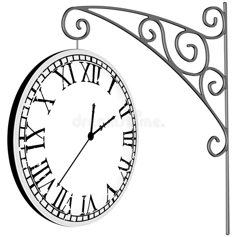 Download Hanged clock stock vector. Illustration of head, minute - 26314432