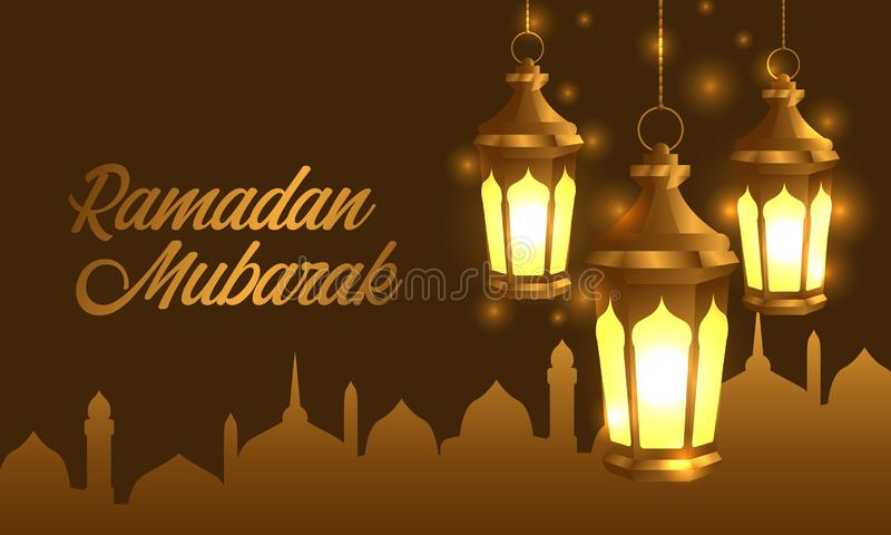 Hanged group 3D golden realistic fanous arabic lantern lamp with silhouette mosque banner stock illustration