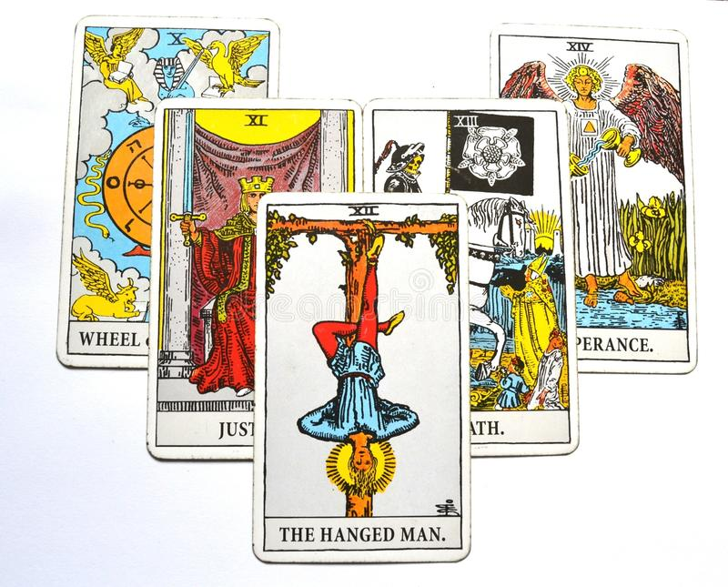 The Hanged Man Tarot Card Reflection Surrender Stand Outside the picture. The Hanged Man Tarot Card shows the time to surrender and take time to stand outside royalty free illustration