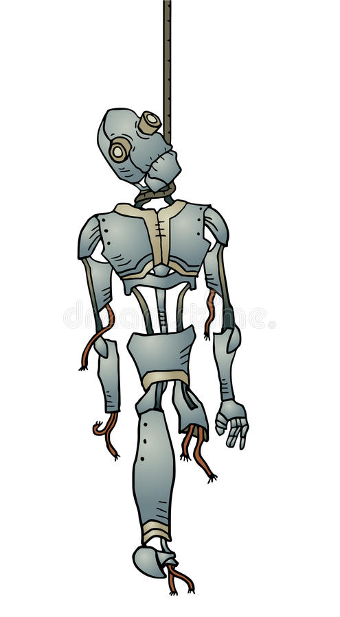 Hanged robot vector illustration
