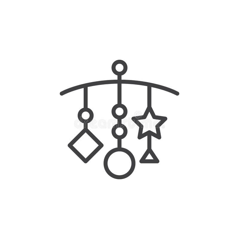 Hangend - de lijnpictogram van het Voederbakspeelgoed, overzichts vectorteken, lineair die stijlpictogram op wit wordt geïsoleerd vector illustratie