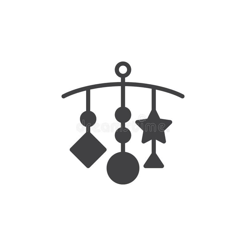 Hangend - het pictogram vector, gevuld vlak teken van het Voederbakspeelgoed, stevig die pictogram op wit wordt geïsoleerd royalty-vrije illustratie