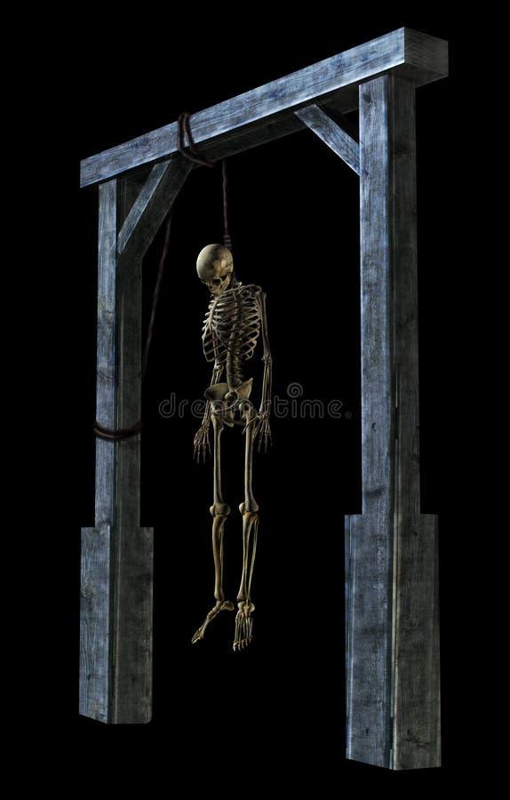 Hangend Skelet op zwarte royalty-vrije illustratie