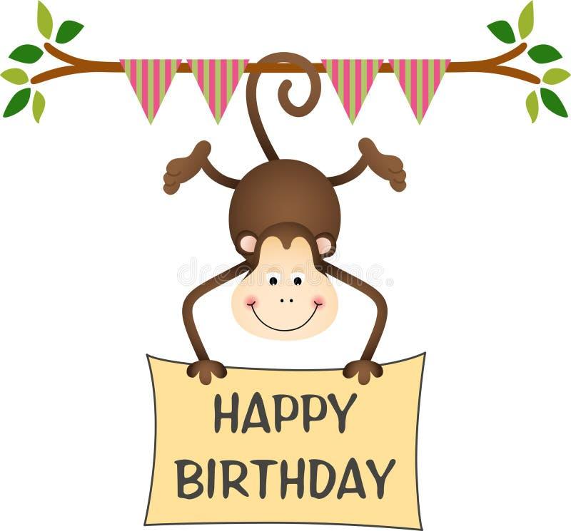 Hangende aap die een gelukkig verjaardagsteken houden vector illustratie