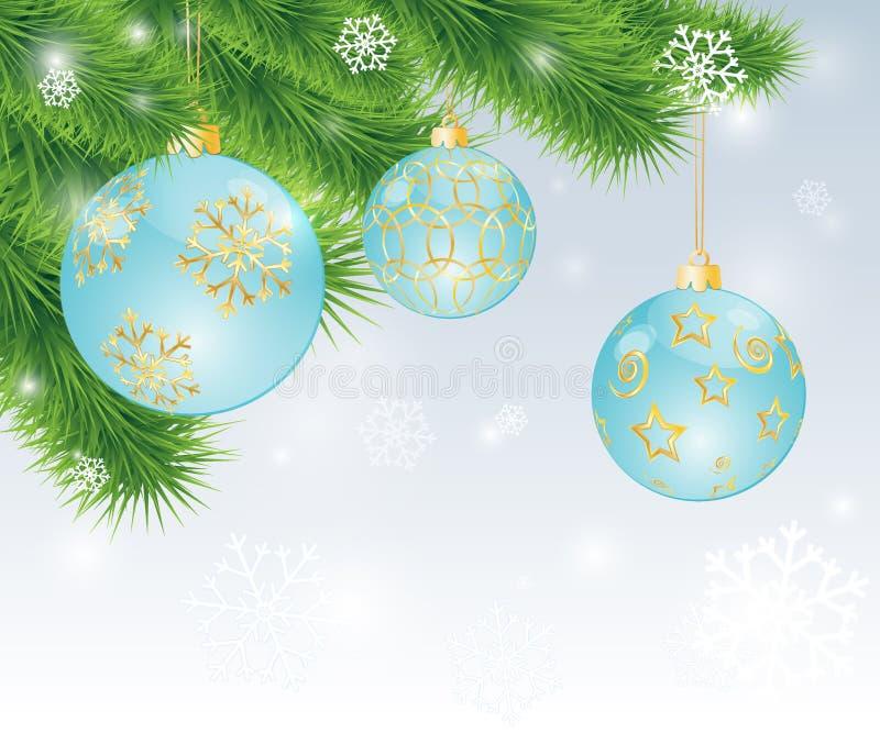 Hangende ballen met gouden decor vector illustratie