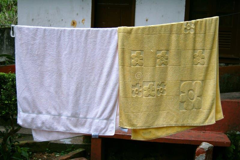 Hangende handdoeken royalty-vrije stock foto's