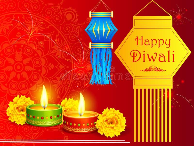 Hangende kandil lantaarn met diya voor Gelukkige Diwali-vakantie van India royalty-vrije illustratie