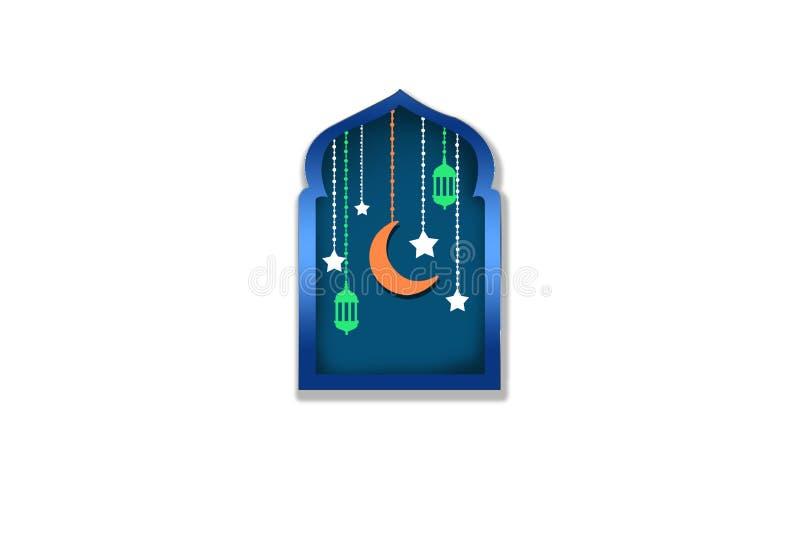 Hangende kleurrijke Arabische lampen of maan op de Islamitische achtergrond van het moskeesilhouet royalty-vrije illustratie