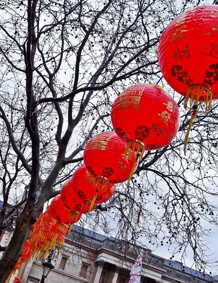 Hangende lantaarns in Trafalgar Square, Londen royalty-vrije stock afbeeldingen
