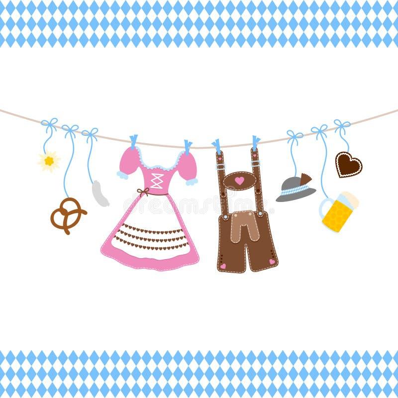 Hangende Oktoberfest-Pictogrammenboog met Diamond Pattern Borders Blue And-Wit royalty-vrije illustratie