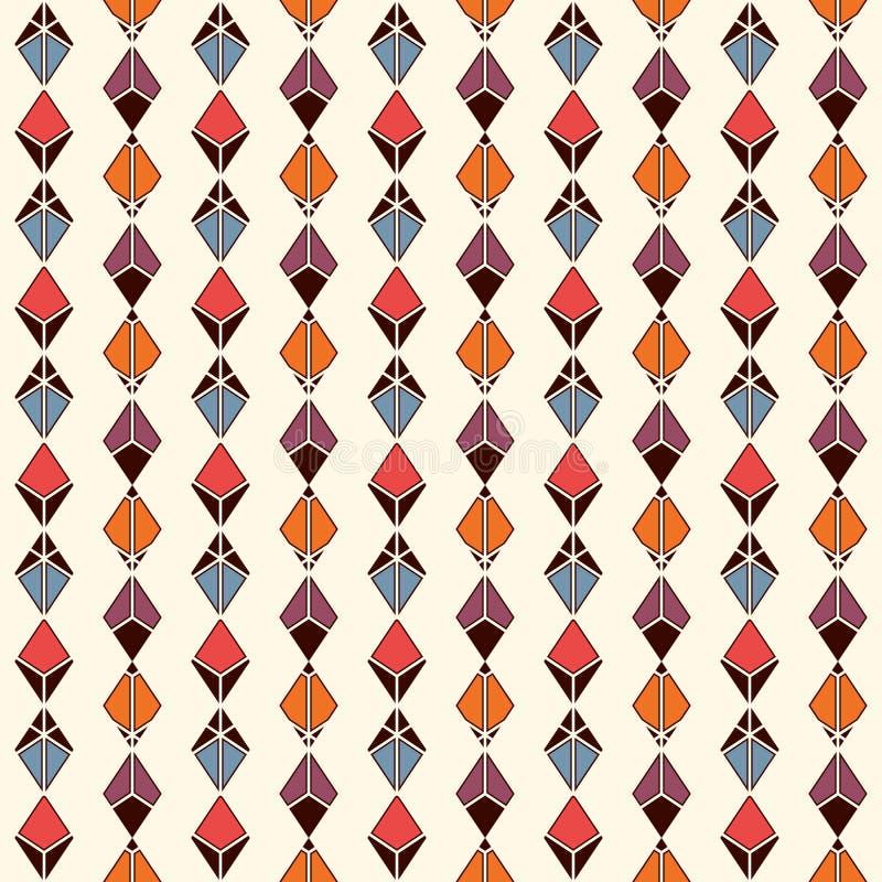 Hangende slingerachtergrond Het motief van de kristaltegenhanger Etnisch en stammen naadloos patroon met ruiten en diamanten stock illustratie