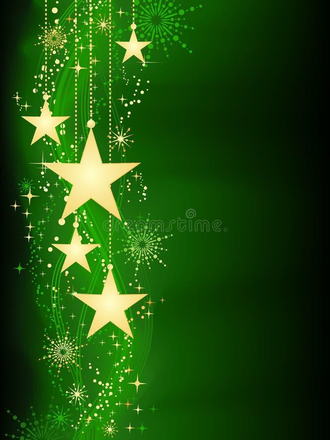 Hangende sterren op groene achtergrond met grunge elem royalty-vrije illustratie