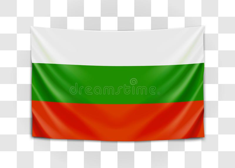 Hangende vlag van Bulgarije Republiek Bulgarije Nationaal vlagconcept royalty-vrije illustratie