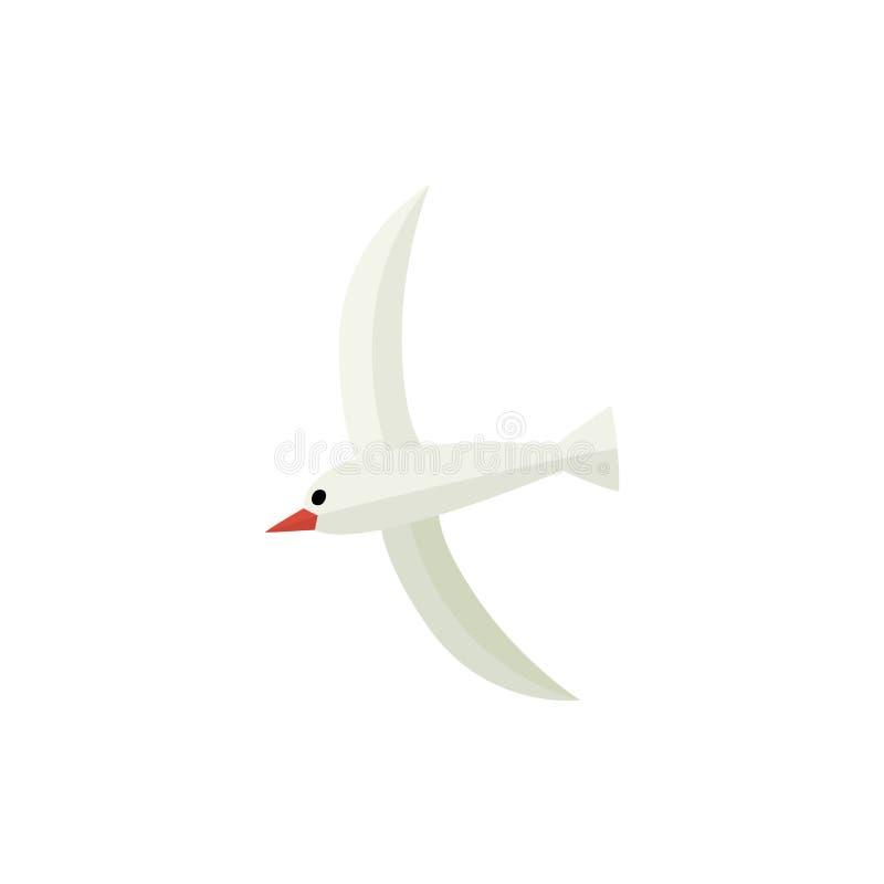 Hangende zeemeeuw, vlakke beeldverhaal vectorillustratie vector illustratie