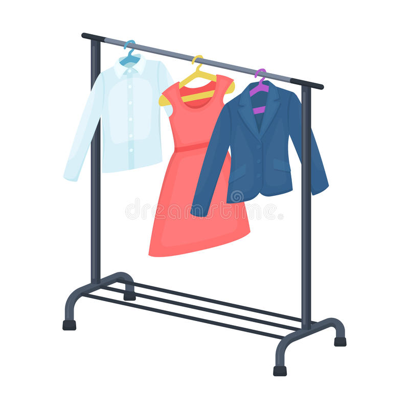 A hanger with things in the wardrobe.Making movie single icon in cartoon style vector symbol stock illustration web. stock illustration
