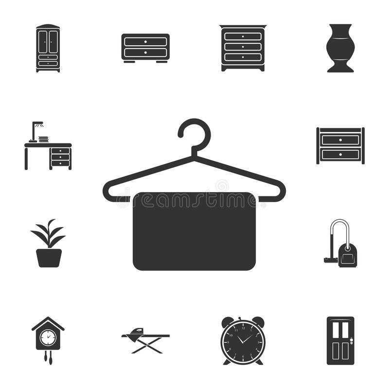 Hanger with a towel icon. Simple element illustration. Hanger with a towel symbol design from Home Furniture collection set. Can b. E used for web and mobile on vector illustration
