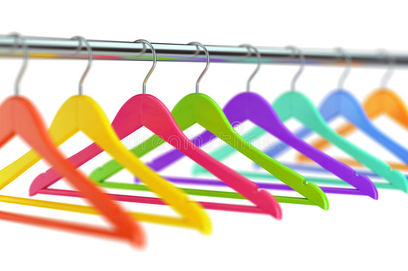 Hangers on clothes rail. Colorful wooden cloth hangers on clothes rail on white defocused background. 3D illustration royalty free illustration