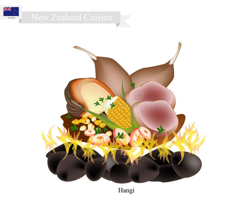 Hangi, A Traditional New Zealand Maori Food. New Zealand Cuisine, Illustration of Hangi or Traditional Maori Food Using Heated Rocks Buried in A Pit Oven. The vector illustration