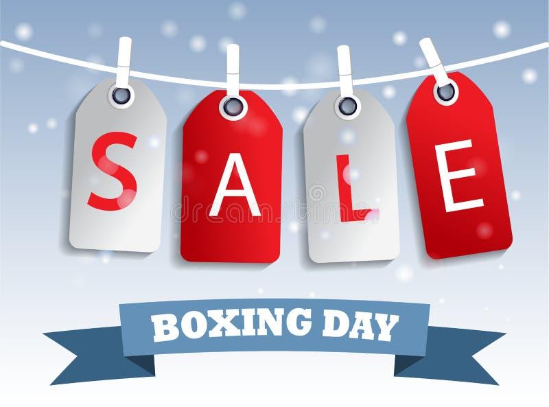 Hangig för etikett för försäljning för boxningdag vektor illustrationer