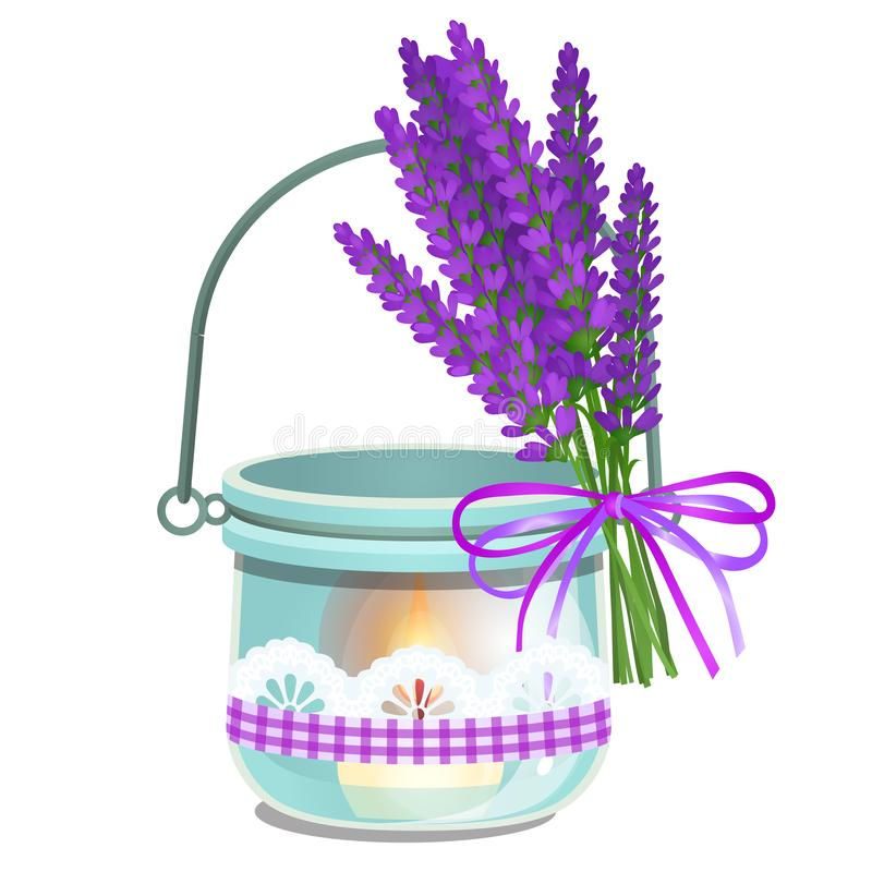 A hanging aroma lamp with burning candle and bouquet of lavender flowers isolated on white background. Cartoon vector. Illustration close-up royalty free illustration