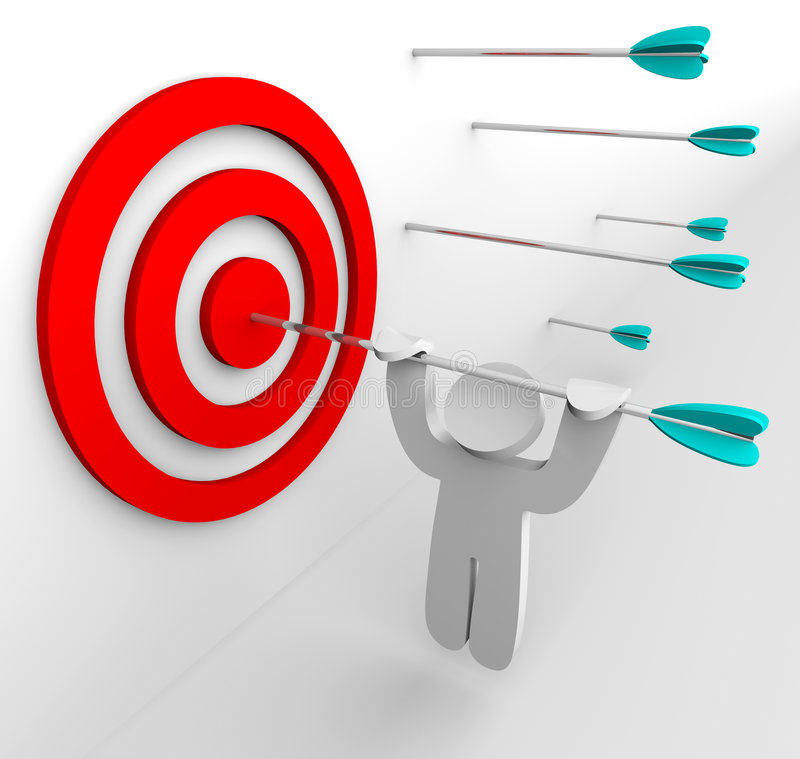 Hanging from Arrow in Target. A figure hangs from an arrow shot into a target's bullseye royalty free illustration