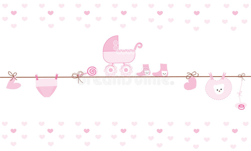 Hanging baby boy clothing symbols with ballon. Hanging baby clothing symbols with ballon vector background royalty free illustration