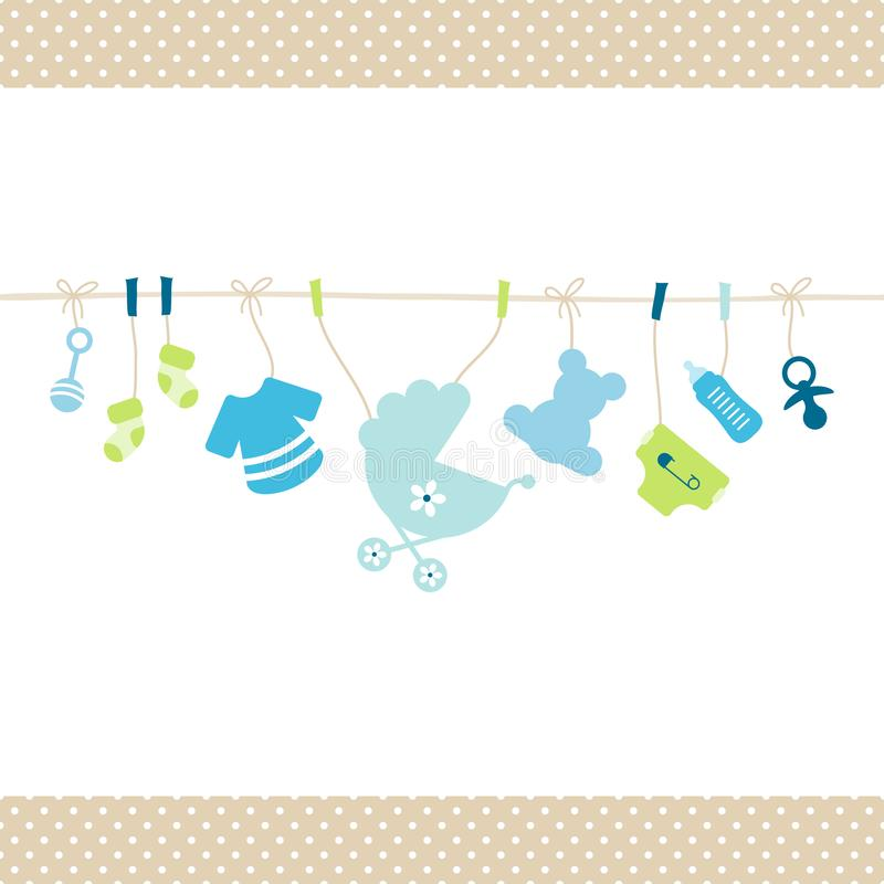 Hanging Baby Boy Icons Straight String Dots Border Beige royalty free illustration