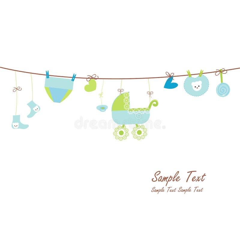 Hanging baby boy symbols card stock illustration