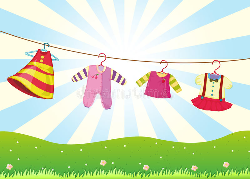 Hanging baby clothes in the hill stock illustration