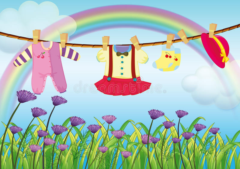 Hanging baby clothes near the garden with fresh flowers. Illustration of the hanging baby clothes near the garden with fresh flowers stock illustration