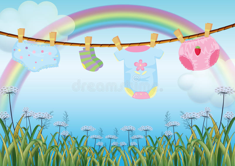 Hanging baby clothes under the rainbow vector illustration
