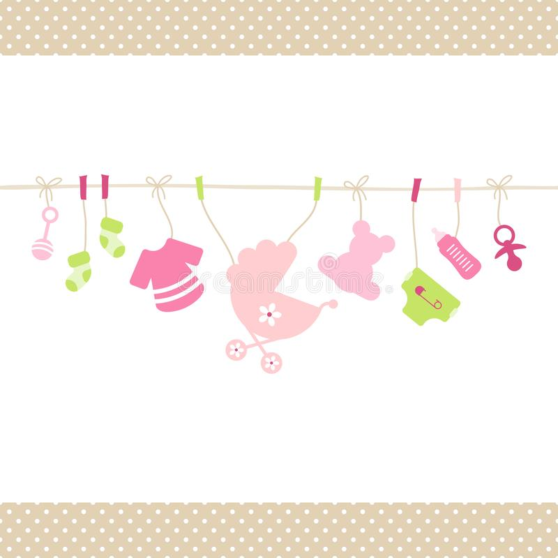 Hanging Baby Girl Icons Straight String Dots Border Beige royalty free illustration