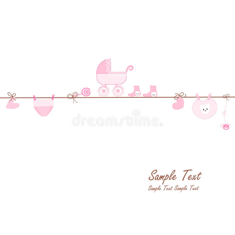 Hanging baby girl symbols vector card stock illustration