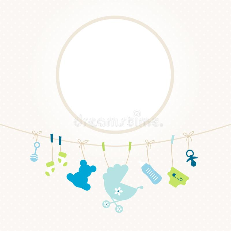 Hanging Baby Icons Boy Round Frame Dots Beige royalty free illustration