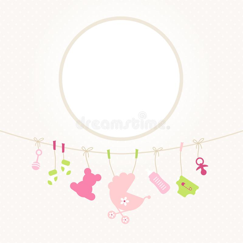 Hanging Baby Icons Girl Round Frame Dots Beige vector illustration