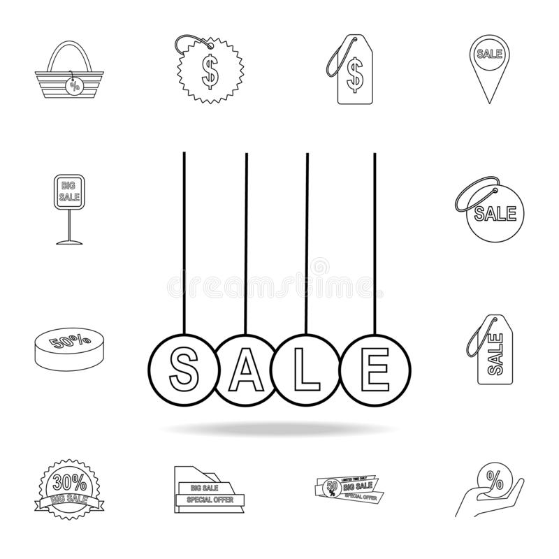Hanging balls with the word sale icon. Detailed set of clearance sale icons. Premium graphic design. One of the collection icons. For websites, web design stock illustration