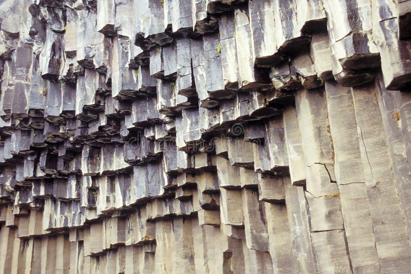 Hanging basalt columns stock image