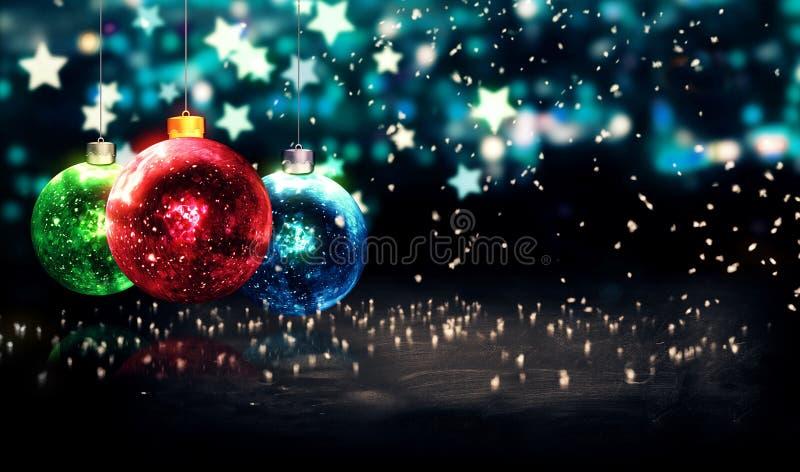 Hanging Baubles Christmas Blue Star Night Bokeh Beautiful 3D. Digital Art royalty free stock image