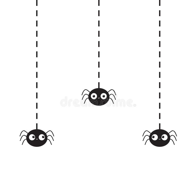 Hanging black spiders silhouette on dash line web. Three funny insect set. Cute cartoon baby character. Happy Halloween. Flat mate. Rial design. White background vector illustration