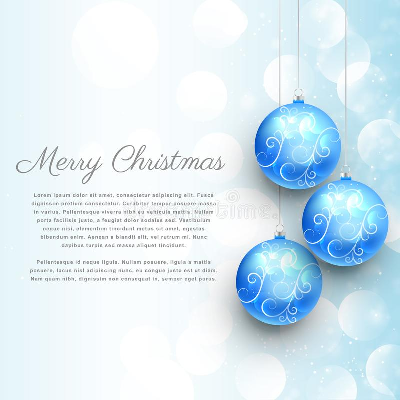hanging blue christmas balls with floral decoration and bokeh effect. merry christmas background vector illustration
