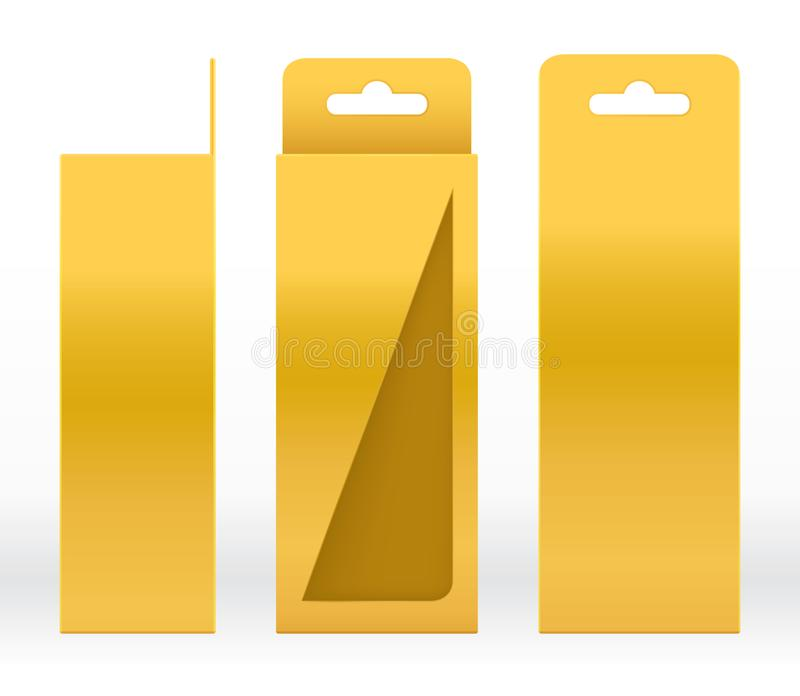 Hanging Box Gold window shape cut out Packaging Template blank. Luxury Empty Box Golden Template for design product package gift royalty free illustration
