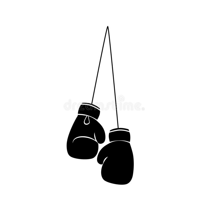 Hanging boxing gloves silhouette icon royalty free illustration