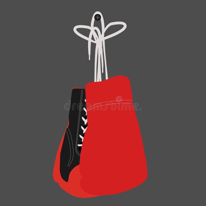 Hanging boxing gloves royalty free illustration