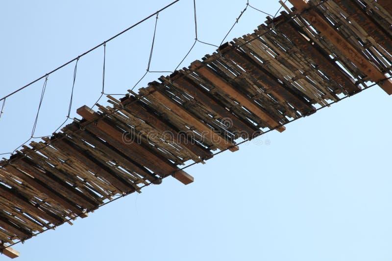 The hanging bridge. Under the ruined hanging bridge stock image