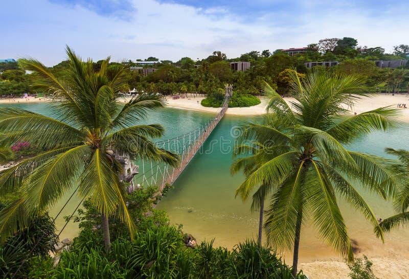 Hanging bridge to Palawan island in Sentosa Singapore royalty free stock photography