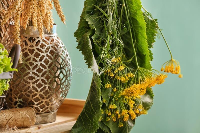 Hanging bunch of fresh aromatic herbs stock photo
